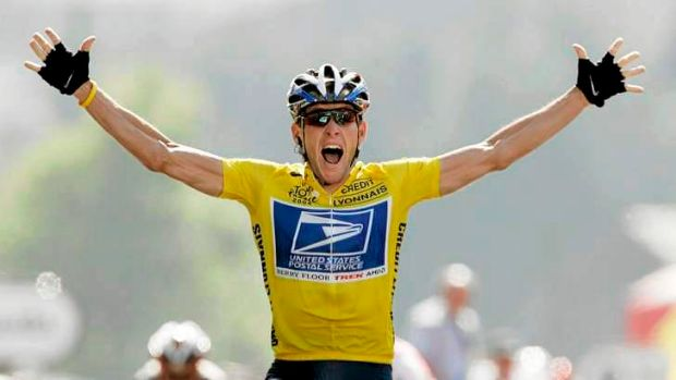 Juiced up: Lance Armstrong winning one his now infamously tainted and erased Tour de France titles.