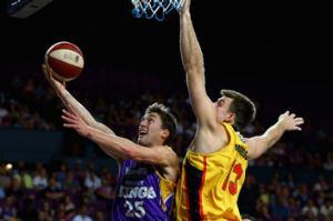Former Sydney Kings point guard Jesse Sanders takes it to the hoop against Melbourne in October.