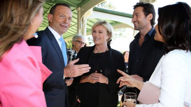 Prime Minister Tony Abbott with actors Deborah-Lee Furness and Hugh Jackman after announcing his support for making ...