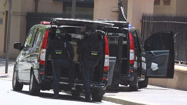 Members of the Bomb Squad outside Parliament House in Macquarie Street.