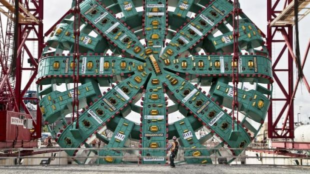Such a bore: Bertha, the giant tunnel-borer, before digging began in Seattle.