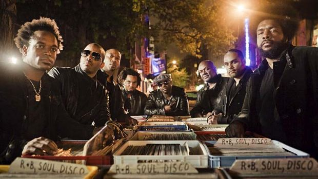 Musical pioneers: The Roots, with Tariq Trotter in the centre, with fellow founder Questlove at far right.