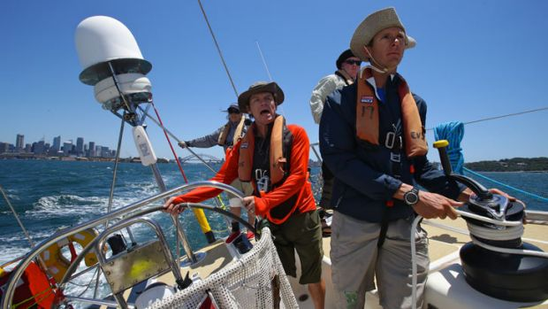 Fairfax journalist Liam Pehlan at the helm training for the Sydney Hobart.