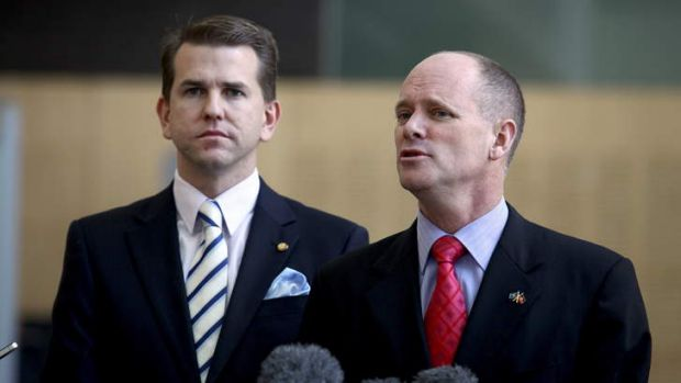 Queensland Premier Campbell Newman (R) and Attorney-General Jarrod Bleijie have had taxpayer-funded security upgrades to ...