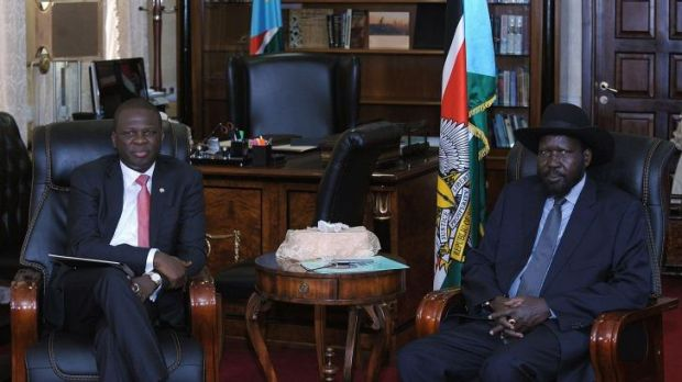 South Sudan's President Salva Kiir (right) receives Nigeria's acting Foreign Minister Nurudeen Mohammed at his office in ...