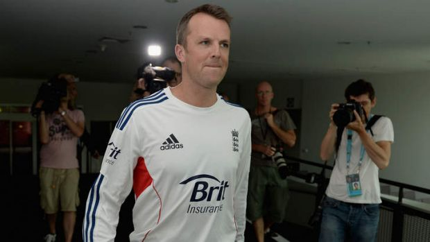 Letting loose: Graeme Swann arrives at a press conference to announce his retirement. He has since sparked controversy ...