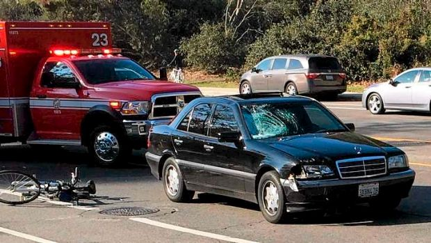 The scene of the accident where James Rapley was killed in Los Angeles.