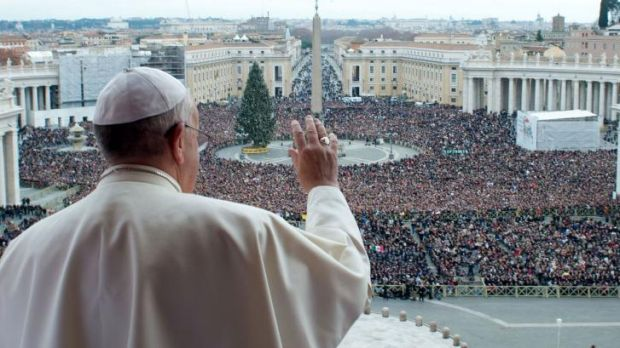 """Pope Francis during his traditional Christmas """"Urbi et Orbi"""" blessing from the balcony of St Peter's Basilica at the Vatican."""