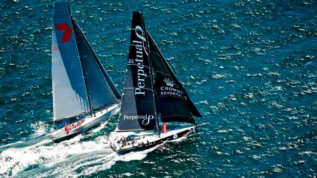 Ahead: Perpetual Loyal (right) opened up a 10 mile lead on rival Wild Oats XI overnight.
