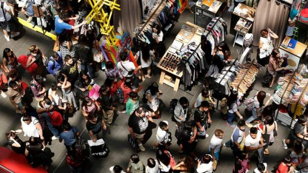 Shoppers at Melbourne Central.