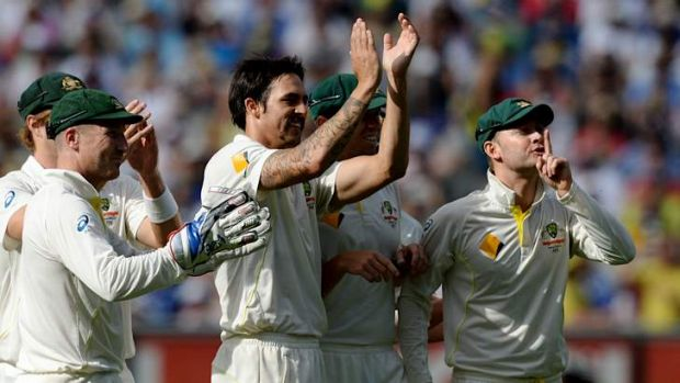 Counter-attack: Mitchell Johnson and Michael Clarke had a clear message for England's Barmy Army after the paceman ...