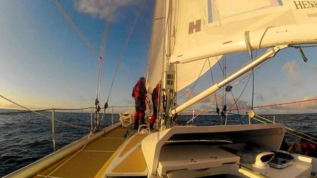 Wild blue yonder: The view from on board Garmin, one of the yachts competing in the Sydney to Hobart.