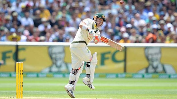 Out cheaply ... David Warner skies a ball off Jimmy Anderson and is caught by Johnny Bairstow.