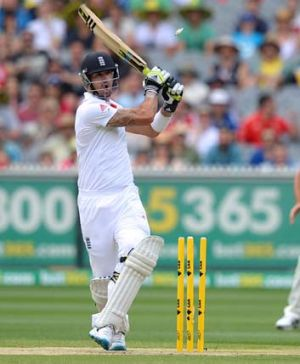 Kevin Pietersen is bowled by Mitchell Johnson.