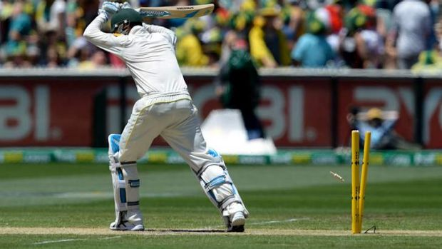 Michael Clarke is bowled by Jimmy Anderson.