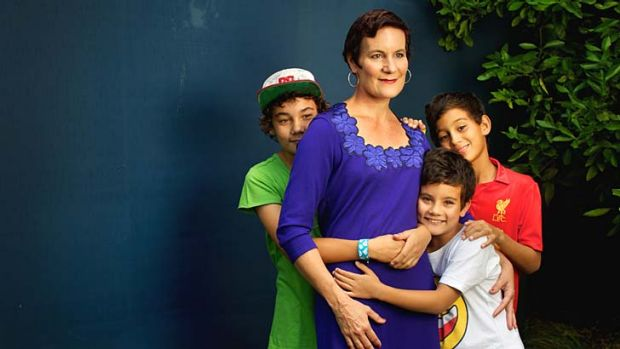 Still fighting on: Kirsty Sword-Gusmao with her sons Alex, Kay Olok and Daniel. ''A better deal in terms of the oil and ...