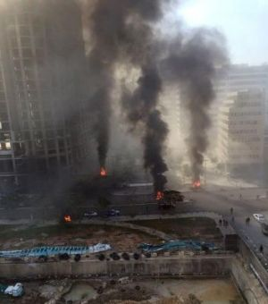 Shattered: Palls of smoke rise from the scene of the attack, which occurred in a part of downtown Beirut some Lebanese ...