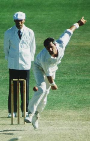 All-time great: Richard Hadlee sends one down in his prime.