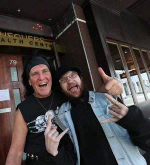 Long way to the top: ACDC's original singer Dave Evans with Ross Young.