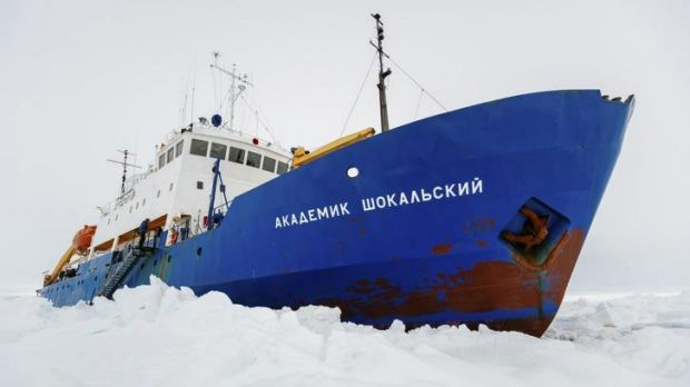 New Years's on ice: the Russian ship MV Akademik Shokalskiy is trapped in thick Antarctic ice 1500 nautical miles south ...