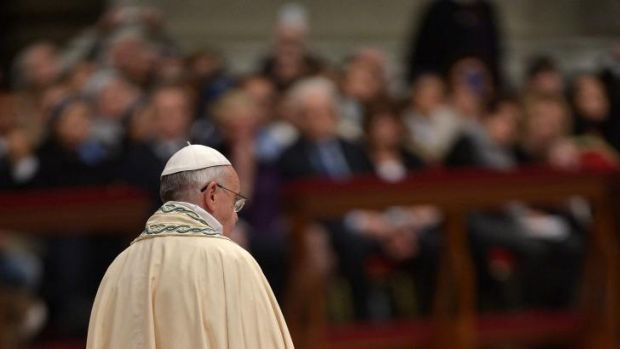 Pope Francis celebrates the First Vespers and Te Deum prayers in Saint Peter's Basilica in the Vatican.