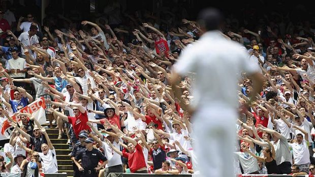 The Barmy Army do the Mitchell Johnson song during the fifth Ashes Test in Sydney in 2011.