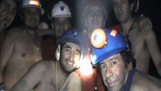 Trapped Chilean miners pose inside the San Jose Mine on September 17, 2010, near Copiapo, 800 km north of Santiago, Chile.