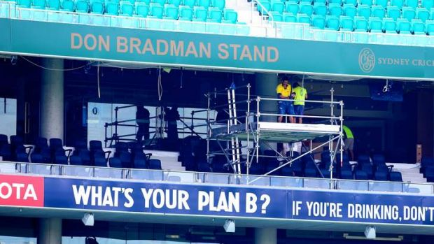 Cutting it fine: Workers were flat out on Thursday getting the new Bradman and Noble stands ready for the fifth Ashes ...