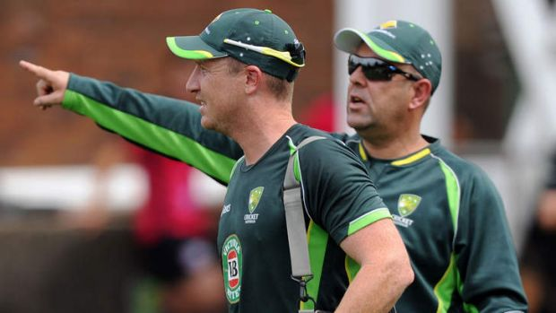 One to go: Brad Haddin and coach Darren Lehmann in the nets at the SCG.