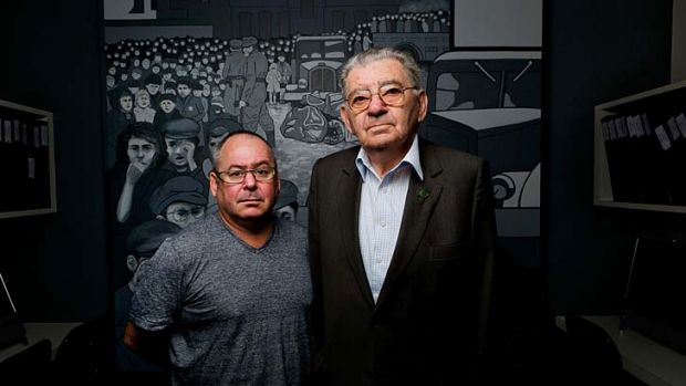 Jewish Holocaust Centre development officer Reuben Zylberszpic and survivor Willy Lermer.