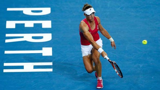 Sam Stosur in her match with Agnieszka Radwanska at Perth's Hopman Cup.