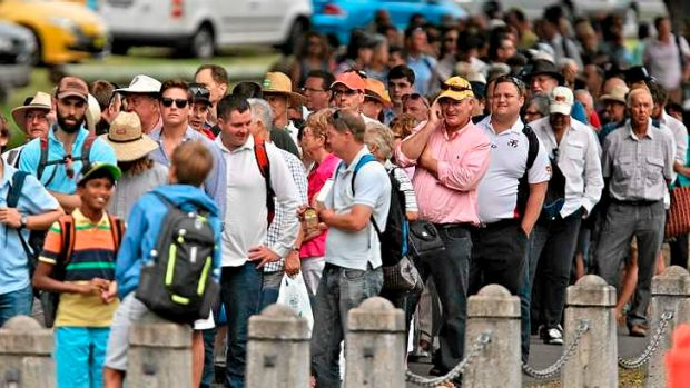 Bumper crowd: Fans queued outside the SCG from dawn for the fifth and final Ashes Test at the SCG today.