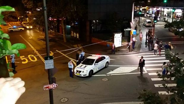 The view from the Kings Cross Hotel of the cordoned off road after Daniel Christie was allegedly hit by Shaun McNeil.