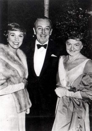 P. L. Travers, pictured right, with Walt Disney and Julie Andrews at the <i>Mary Poppins</i> Hollywood premiere.