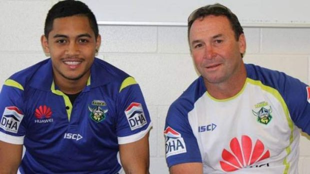 Anthony Milford and Raiders coach Ricky Stuart