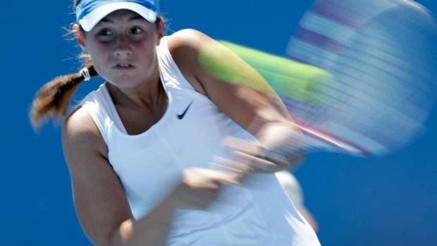 Sara Tomic in action in Melbourne last year.