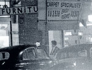 Journalist Roger Milliss entering Communist Party of Australia headquarters in Day Street.