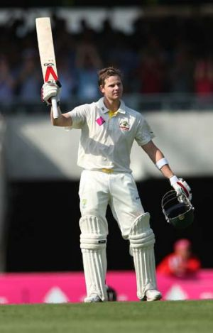 Smith saves the day: Steve Smith brings up his second hundred of the series.