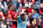 ADELAIDE, AUSTRALIA - JANUARY 03: Ranko Despotovic of Sydney attempts to header the ball during the round 13 A-League ...