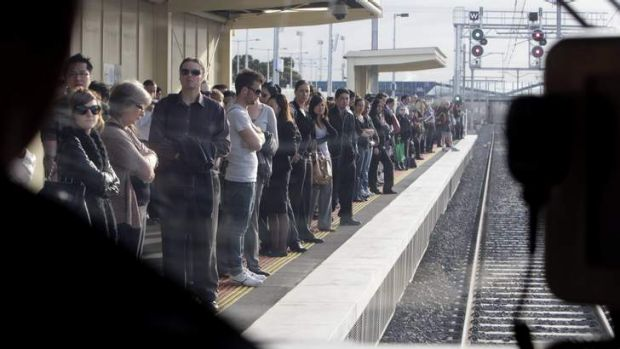 Train driver's view of the platform at Laverton station.