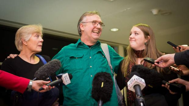 Greenpeace activist Collin Russell with his wife Christine and daughter Madeleine.