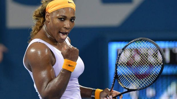 'Hard to explain': Serena Williams celebrates victory over Maria Sharapova.