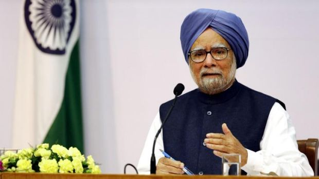 Indian Prime Minister Manmohan Singh announces that he will step down after elections this year at a press conference in ...