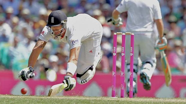 Desperate times ... Kevin Pietersen makes a dive for the crease on day two.