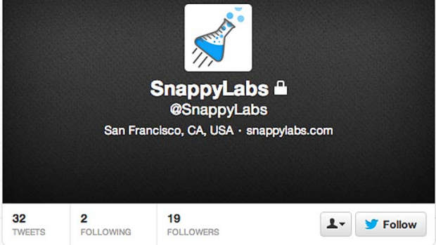 The locked Snappy Labs Twitter account.