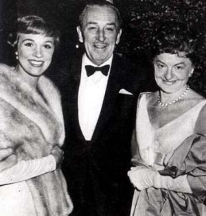 Julie Andrews, Walt Disney and P.L. Travers at the 1964 premiere of <em>Mary Poppins</em>.