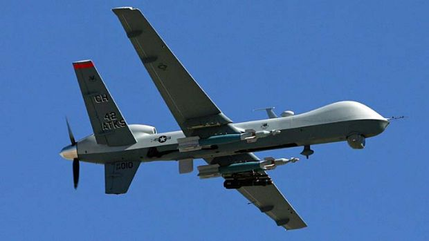 An MQ-9 Reaper drone flying at Creech Air Force Base in Nevada, US.
