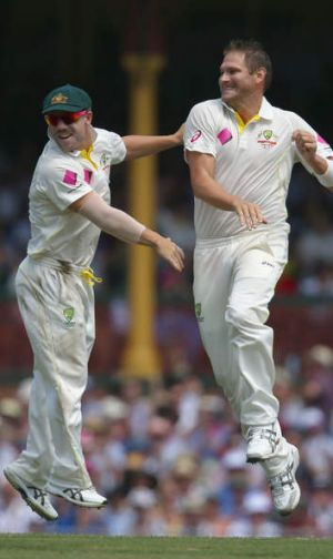 Fit and firing: David Warner (left) and Ryan Harris at the SCG on Saturday.