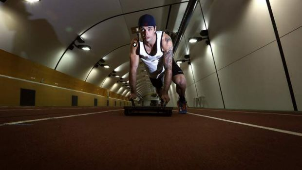 Focused: John Farrow trains at the AIS last year. The skeleton racer says he is unconcerned about his safety in Russia ...