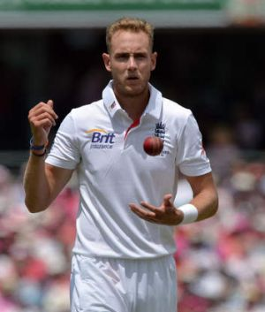 Saving grace: Paceman Stuart Broad prepares to bowl against George Bailey at the SCG.